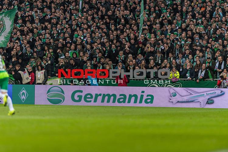 10.02.2019, Weserstadion, Bremen, GER, 1.FBL, Werder Bremen vs FC Augsburg<br /> <br /> DFL REGULATIONS PROHIBIT ANY USE OF PHOTOGRAPHS AS IMAGE SEQUENCES AND/OR QUASI-VIDEO.<br /> <br /> im Bild / picture shows<br /> kurios, die insolvente Germania ist noch präsent auf der Werbebande während des Spiels, Feature, <br /> <br /> Foto © nordphoto / Ewert