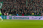 10.02.2019, Weserstadion, Bremen, GER, 1.FBL, Werder Bremen vs FC Augsburg<br /> <br /> DFL REGULATIONS PROHIBIT ANY USE OF PHOTOGRAPHS AS IMAGE SEQUENCES AND/OR QUASI-VIDEO.<br /> <br /> im Bild / picture shows<br /> kurios, die insolvente Germania ist noch präsent auf der Werbebande während des Spiels, Feature, <br /> <br /> Foto © nordphoto / Ewert