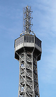 part of Petrin tower photographed with a clear blue sky as backdrop..<br /> <br /> Editorial use only