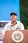 Zhao Zhiqiang gives a speech during the Press conference for the opening of Boris Becker Tennis Academy at Mission Hills Resort on 19 March 2016, in Shenzhen, China. Photo by Lucas Schifres / Power Sport Images