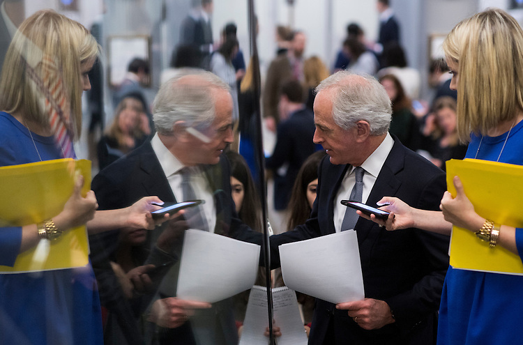 UNITED STATES - JANUARY 31: Sen. Bob Corker, R-Tenn., speaks with reporters as he arrives in the Capitol for a vote on Tuesday, Jan. 31, 2017. (Photo By Bill Clark/CQ Roll Call)