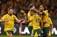 Kurtley Beale (15) of the Wallabies celebrates scoring a try during the Rugby Championship match between Australia and New Zealand at Optus Stadium in Perth, Australia on August 10, 2019 . Photo: Gary Day / Frozen In Motion