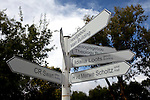 BLOEMFONTEIN, SOUTH AFRICA APRIL 17, 2013: Signs for directions to different faculty buildings (mainly in Afrikaans) at the University of the Free State in Bloemfontein, South Africa. Photo by: Per-Anders Pettersson