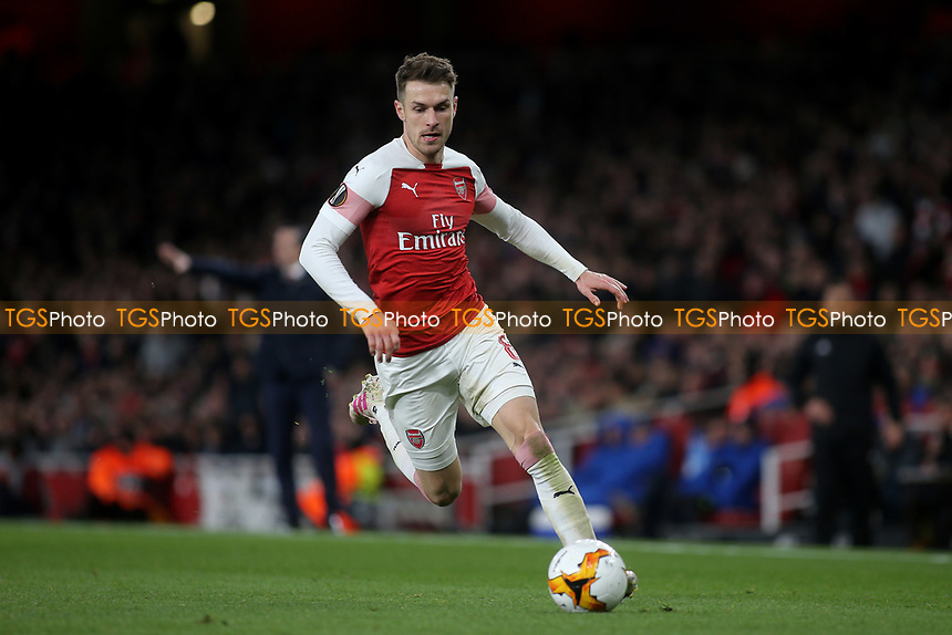 Aaron Ramsey of Arsenal in action during Arsenal vs Napoli, UEFA Europa League Football at the Emirates Stadium on 11th April 2019