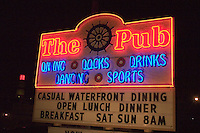 Fine dining restaurant sign for the Pub.  Indian Shores Tampa Bay Area Florida USA