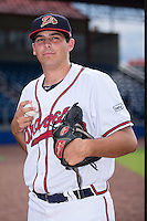 Danville Braves pitcher Brandon White (48) poses for a photo prior to the game against the Pulaski Yankees at American Legion Post 325 Field on August 2, 2016 in Danville, Virginia.  The game was cancelled due to rain.  (Brian Westerholt/Four Seam Images)