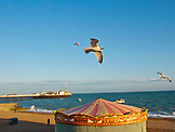 ENGLAND, Brighton, Sunset on the Beach