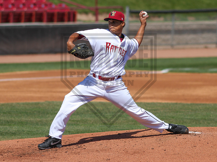 APPLETON - April 2015:  Wisconsin Timber Rattlers pitcher Luis Ortega (37) during a Midwest League game against the Cedar Rapids Kernels on April 23rd, 2015 at Fox Cities Stadium in Appleton, Wisconsin. (Photo Credit: Brad Krause)