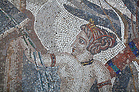 Diana, from the Roman mosaic of Diana and her nymph surprised by Actaeon while bathing, 3rd century AD, from the House of the Procession of Venus, Volubilis, Northern Morocco. Volubilis was founded in the 3rd century BC by the Phoenicians and was a Roman settlement from the 1st century AD. Volubilis was a thriving Roman olive growing town until 280 AD and was settled until the 11th century. The buildings were largely destroyed by an earthquake in the 18th century and have since been excavated and partly restored. Volubilis was listed as a UNESCO World Heritage Site in 1997. Picture by Manuel Cohen