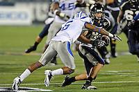 4 December 2010:  FIU wide receiver Greg Ellingson (82) attempts to evade Middle Tennessee cornerback Rod Issac (6) after a reception in the second quarter as the Middle Tennessee State University Blue Raiders defeated the FIU Golden Panthers, 28-27, at FIU Stadium in Miami, Florida.