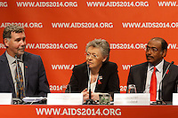 Chris Beyrer, Fran&ccedil;oise Barr&eacute;-Sinoussi and Michel Sidibé at a press conference prior to the opening session of the 20th International AIDS Conference (AIDS 2014) at the Melbourne Convention and Exhibition Centre.<br /> For licensing of this image please go to http://demotix.com