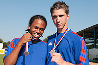 22 August 2010: Edison Garcia Martinez and Steven Vesque pose at the 2010 European Championship, under 21, in Brno, Czech Republic.