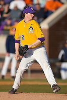 Relief pitcher Mike Wright #12 of the East Carolina Pirates in action versus the Virginia Cavaliers at Clark-LeClair Stadium on February 20, 2010 in Greenville, North Carolina.   Photo by Brian Westerholt / Four Seam Images