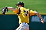4 JUNE 2016: Logan Grant (17) of Millersville University delivers a pitch during the Division II Men's Baseball Championship against Nova Southeastern University at the USA Baseball National Training Complex in Cary, NC.  Nova Southeastern University defeated Millersville University 8-6 to win the national title.  Grant Halverson/NCAA Photos