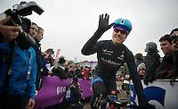 The american Tyler Farrar (USA) greeting his home crowd in Gent<br /> <br /> Omloop Het Nieuwsblad 2014