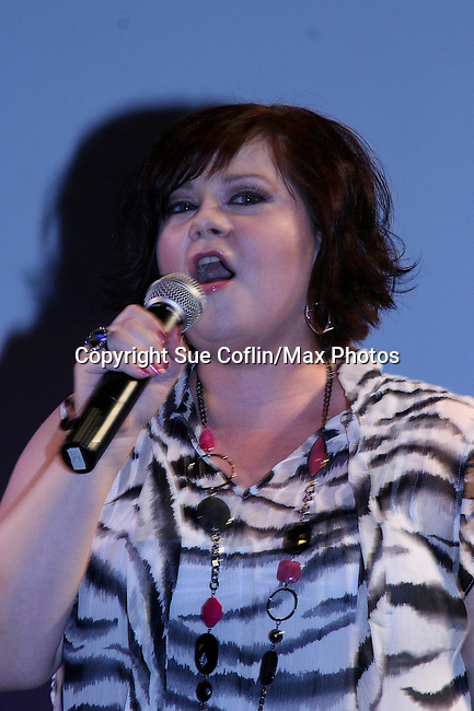OLTL's Kathy Brier sings at The Premiere of the Divas of Daytime TV Tour at New York City's Canal Room, New York on August 16, 2008. Performing are OLTL's Kathy Brier, Kassie DePaiva and AMC's Bobbie Eakes with AMC's Ricky Paull Goldin as MC. (Photo by Sue Coflin/Max Photos)