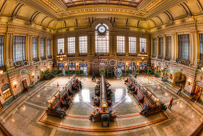 The refurbished Hoboken Terminal Main Waiting Room in Hoboken, New Jersey