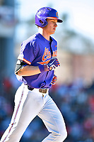 Clemson Tigers shortstop Logan Davidson (8) walks to first base during a game against the South Carolina Gamecocks at Fluor Field on March 3, 2018 in Greenville, South Carolina. The Tigers defeated the Gamecocks 5-1. (Tony Farlow/Four Seam Images)