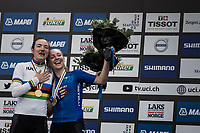 Elena Pirrone (ITA) wins her 2nd rainbow jersey in 3 days (after winning the junior iTT title earlier) and enthusiastically sings the national italian anthem with bronze medalist Letizia Paternoster (ITA)<br /> <br /> Women Junior Road Race<br /> <br /> UCI 2017 Road World Championships - Bergen/Norway