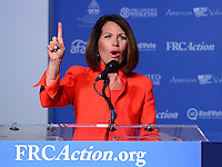 Washington, DC - September 9, 2016: Former Rep. Michele Bachmann addresses attendees of the Values Voter Summit, held at the Omni Shoreham hotel in the District of Columbia, September 9, 2016.  (Photo by Don Baxter/Media Images International)