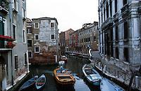 Venice:  Small canal, Right Bank, from Ponte Santa Posca.  Photo '83.