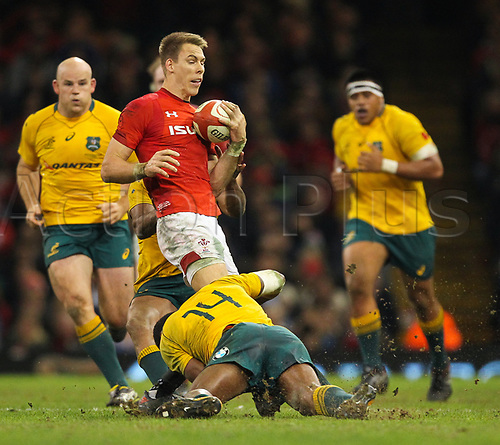 11th November 2017, Principality Stadium, Cardiff, Wales; Autumn International Series, Wales versus Australia; Liam Williams of Wales is tackled by Marika Koroibete of Australia