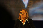 Israel's Foreign Minister and Kadima candidate Tzipi Livni, makes an election night appearence, after polls forecasted her victory, in Tel Aviv, Israel, on early morning Wednesday, Feb. 11, 2009. Photographer: Ahikam Seri