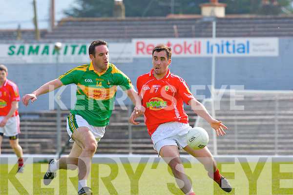 Kerry team mates Declan O'Sullivan South Kerry and Jack Sherwood East Kerry in action during their County Championship clash in Fitzgerald Stadium on Saturday