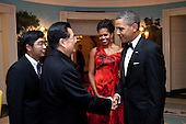 United States President Barack Obama and First Lady Michelle Obama say goodbye to President Hu Jintao of China in the Diplomatic Reception Room of the White House, Wednesday, January 19, 2011..Mandatory Credit: Pete Souza - White House via CNP