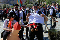 Pictured: A man wearing a wooden penis in Tirnavos, central Greece. Monday 11 March 2019<br /> Re: Bourani (or Burani) the infamous annual carnival which dates to 1898 which takes place on the day of (Clean Monday), the first days of Lent in Tirnavos, central Greece, in which men hold phallus shaped objects as scepters in their hands.