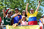 Colombian fans at sign on before the start of Stage 4 of the 2018 Tour de France running 195km from La Baule to Sarzeau, France. 10th July 2018. <br /> Picture: ASO/Alex Broadway | Cyclefile<br /> All photos usage must carry mandatory copyright credit (&copy; Cyclefile | ASO/Alex Broadway)