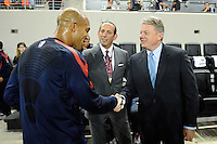 Don Garber, Tim Howard, Panasonic NA CEO Joe Taylor. The men's national team of the United States (USA) was defeated by Ecuador (ECU) 1-0 during an international friendly at Red Bull Arena in Harrison, NJ, on October 11, 2011.