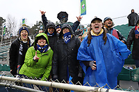 Cary, North Carolina  - Saturday March 24, 2018: Section 108 supporters group during a regular season National Women's Soccer League (NWSL) match between the North Carolina Courage and the Portland Thorns FC at Sahlen's Stadium at WakeMed Soccer Park. The Courage won the game 1-0.