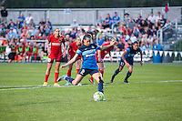 Kansas City, Mo. - Saturday April 23, 2016: FC Kansas City forward Shea Groom (2) shoots a penalty kick during a match against the Portland Thorns FC at Swope Soccer Village. The match ended in a 1-1 draw.