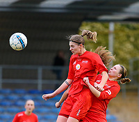 20191221 - WOLUWE: Woluwe's Marie Bougard heads the ball during the Belgian Women's National Division 1 match between FC Femina WS Woluwe A and KAA Gent B on 21st December 2019 at State Fallon, Woluwe, Belgium. PHOTO: SPORTPIX.BE | SEVIL OKTEM