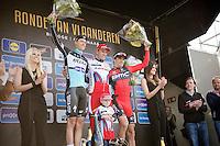 Flanders 2015 winners podium:<br /> 1/ Alexander Kristoff (NOR/Katusha) & son<br /> 2/ Niki Terpstra (NLD/Etixx-QuickStep)<br /> 3/ Greg Van Avermaet (BEL/BMC)<br /> <br /> 99th Ronde van Vlaanderen 2015