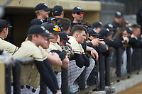 The Wake Forest Demon Deacons bench watches the action during the game against the Notre Dame Fighting Irish at David F. Couch Ballpark on March 10, 2019 in  Winston-Salem, North Carolina. The Demon Deacons defeated the Fighting Irish 7-4 in game one of a double-header.  (Brian Westerholt/Four Seam Images)