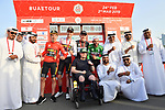 The jersey holders on the podium at the end of Stage 2 of the 2019 UAE Tour, running 184km form Yas Island Yas Mall to Abu Dhabi Breakwater Big Flag, Abu Dhabi, United Arab Emirates. 25th February 2019.<br /> Picture: LaPresse/Massimo Paolone | Cyclefile<br /> <br /> <br /> All photos usage must carry mandatory copyright credit (© Cyclefile | LaPresse/Massimo Paolone)