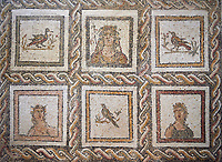 Picture of a Roman mosaics design depicting Dionysus, God of wine, surrounded by women's busts representing the Four Seasons, from the ancient Roman city of Thysdrus. 3rd century AD. El Djem Archaeological Museum, El Djem, Tunisia.