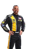 Feb 8, 2017; Pomona, CA, USA; NHRA top fuel driver Tony Schumacher poses for a portrait during media day at Auto Club Raceway at Pomona. Mandatory Credit: Mark J. Rebilas-USA TODAY Sports