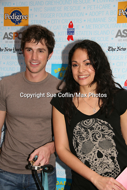 """As The World Turns' Matt Cavanaugh stars in Westside Story with Karen Olivo at Broadway Barks 11 - a """"Pawpular"""" star-studded dog and cat adopt-a-thon on July 11, 2009 in Shubert Alley, New York City, NY. (Photo by Sue Coflin/Max Photos)"""
