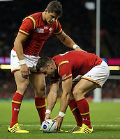 Pictured: Gareth Davies of Wales (R) celebrates his try with team mate Lloyd Williams (L) Sunday 20 September 2015<br />