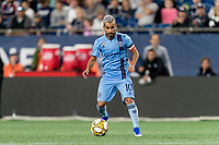 FOXBOROUGH, MA - SEPTEMBER 29: Maximiliano Moralez #10 of New York City FC looks to pass during a game between New York City FC and New England Revolution at Gillette Stadium on September 29, 2019 in Foxborough, Massachusetts.