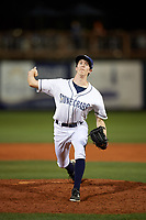 Charlotte Stone Crabs relief pitcher Tyler Brashears (6) delivers a pitch during a game against the Palm Beach Cardinals on April 11, 2017 at Charlotte Sports Park in Port Charlotte, Florida.  Palm Beach defeated Charlotte 12-6.  (Mike Janes/Four Seam Images)
