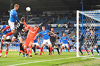 Tom Naylor of Portsmouth left heads for goal during Portsmouth vs Birmingham City, Caraboa Cup Football at Fratton Park on 6th August 2019