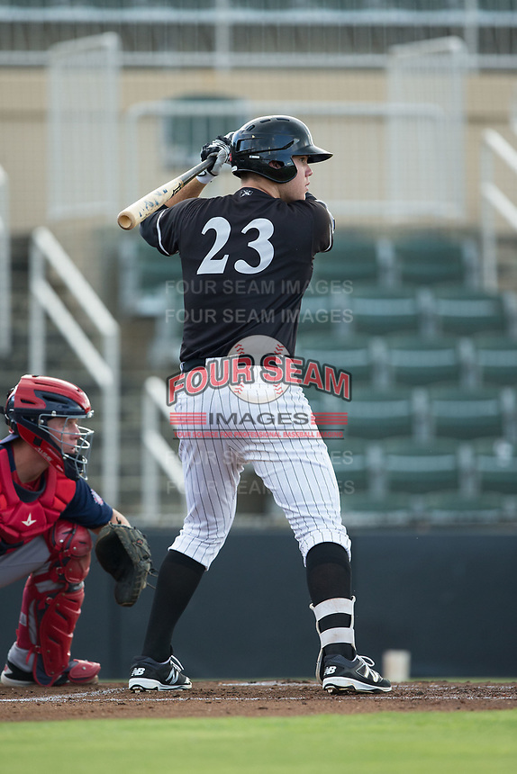 Gavin Sheets (23) of the Kannapolis Intimidators at bat against the Hagerstown Suns at Kannapolis Intimidators Stadium on July 10, 2017 in Kannapolis, North Carolina.  The Suns defeated the Intimidators 8-5.  (Brian Westerholt/Four Seam Images)