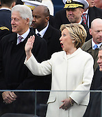 Former United States President Bill Clinton (L) and Hillary Clinton greet guests at inauguration on January 20, 2017 in Washington, D.C.  Donald Trump becomes the 45th President of the United States.       <br /> Credit: Pat Benic / Pool via CNP