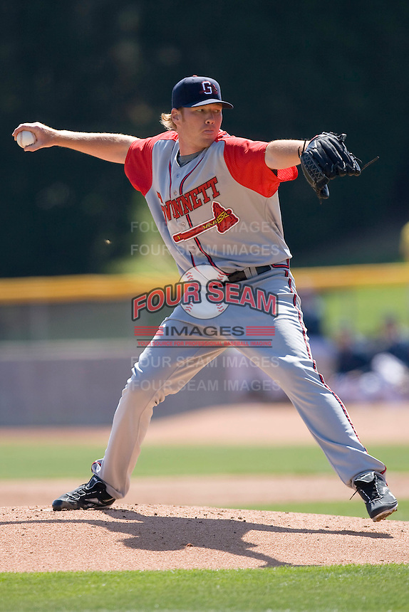 Starting pitcher Tommy Hanson #32 of the Gwinnett Braves in action versus the Charlotte Knights at Knights Castle April 9, 2009 in Fort Mill, South Carolina. (Photo by Brian Westerholt / Four Seam Images)