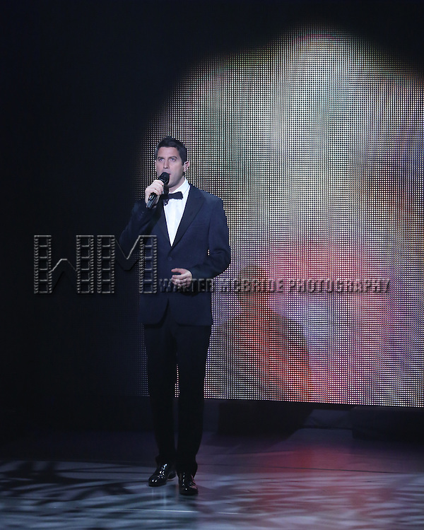 Sebastian Izambard from IL DIVO  performing 'IL DIVO - A Musical Affair' on Broadway at the Marquis Theatre on November 7, 2013  in New York City.