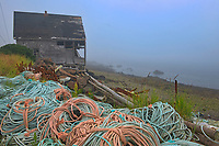Fishing rope and shack in coastal fishing village of Westport<br />Brier Island on DIgby Neck<br />Nova Scotia<br />Canada
